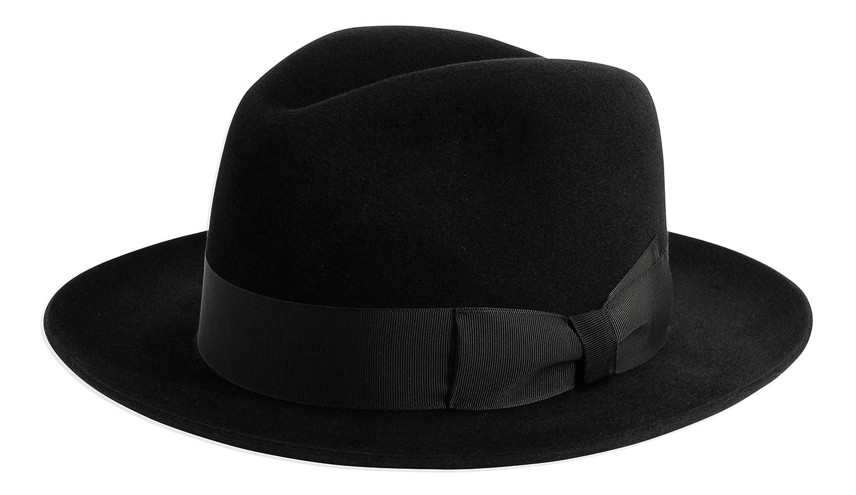 Gamble /& Gunn Shirwell Luxury Handmade Fur Felt Fedora Black//Grey//Brown Black, 62cm