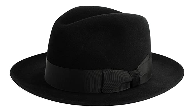 1c76e79af553c9 Image Unavailable. Image not available for. Color: Gamble & Gunn 'Shirwell' Luxury  Handmade Fur Felt Fedora Black/Grey/Brown