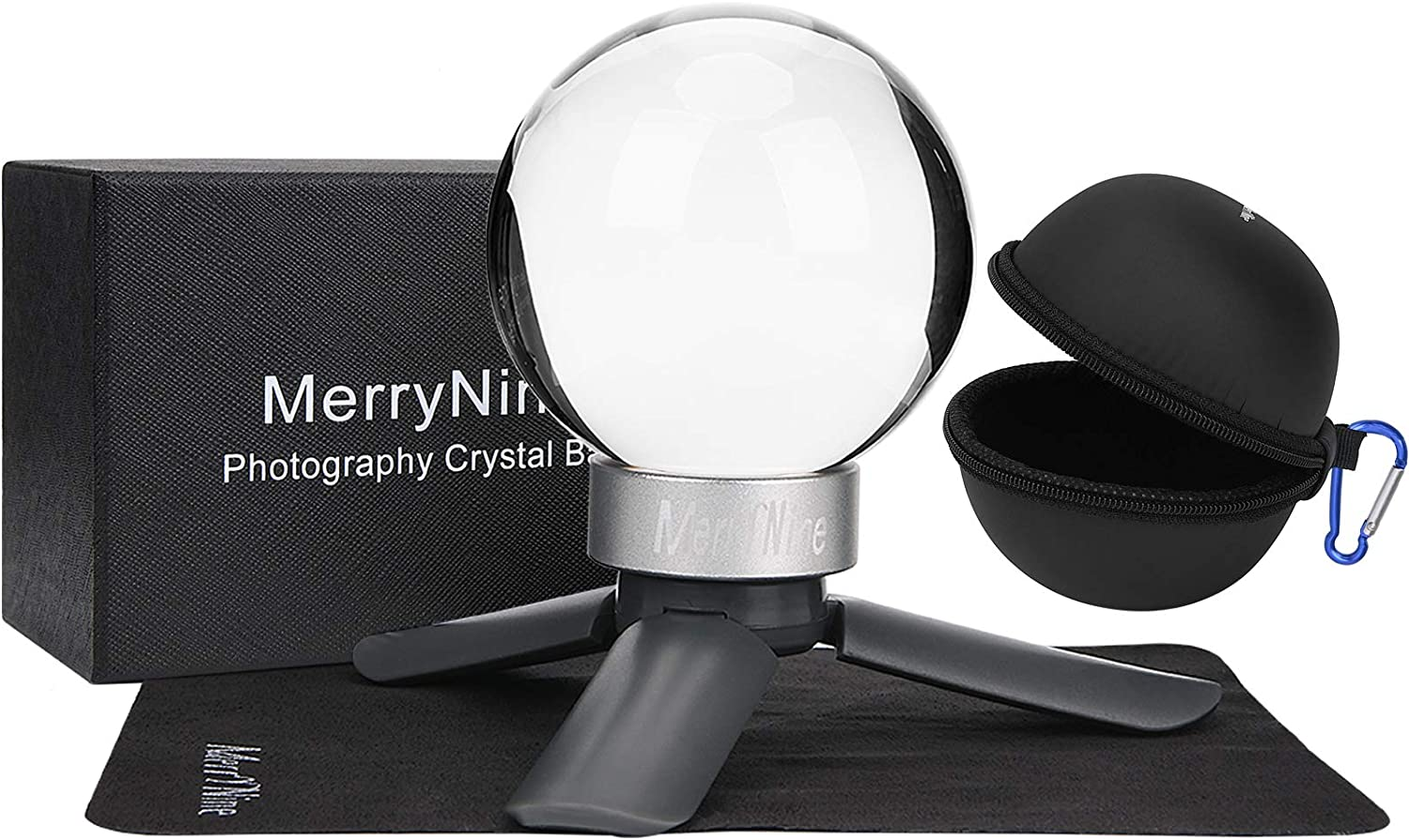 MerryNine 80mm//3.15 Photograph K9 Crystal Ball with Stylish Metallic Stand and Microfiber Pouch Black Decorative and Photography Accessory