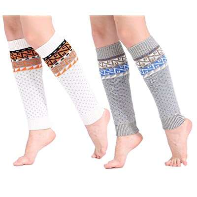 2 Pairs Winter Boho Style Leg Warmer Leggings Boot Socks For Women Girls