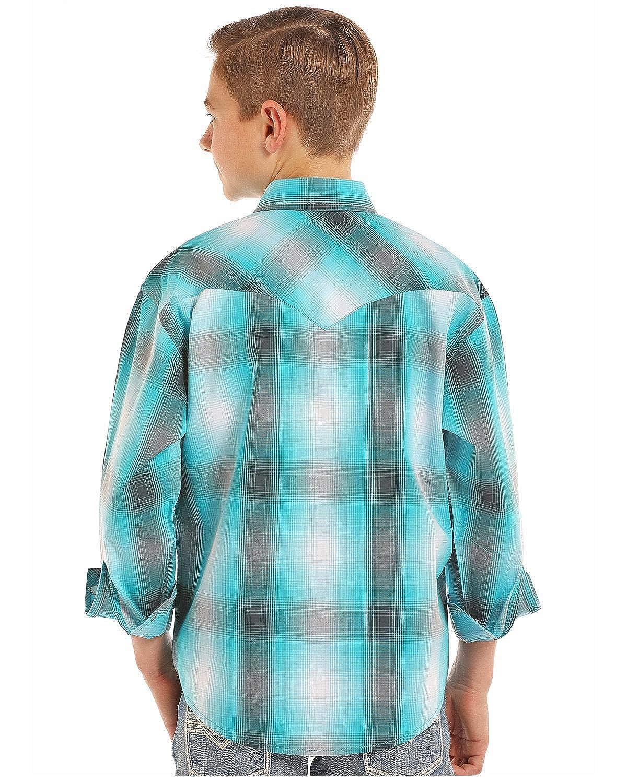 Rock /& Roll Cowboy Boys and Yarn Dye Plaid Long Sleeve Western Shirt
