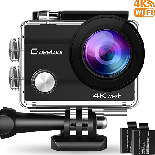 Crosstour Action Camera Underwater Cam WiFi 1080P Full HD 12MP Waterproof 30m 2 LCD 170 Degree Wide-Angle Sports Camera with 2 Rechargeable 1050mAh Batteries and Mounting Accessory Kits 4K