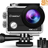"Action Camera Crosstour 4K WIFI Ultra HD Waterproof 2"" LCD 30m Underwater Camera 170°Wide-angle with 2 Rechargeable 1050mAh Batteries and Accessory Kits for Cycling Swimming Snorkeling"
