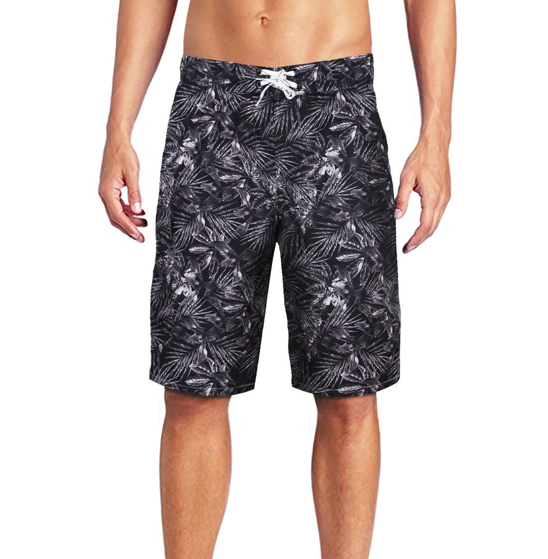 Men's Swim Trunks Quick Dry with Meshlining and Cargo Pocket Leaf Print Black XL