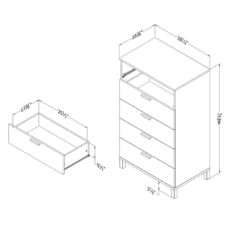 Amazon.com: South Shore flexible 5-Drawer Pecho, Madera ...