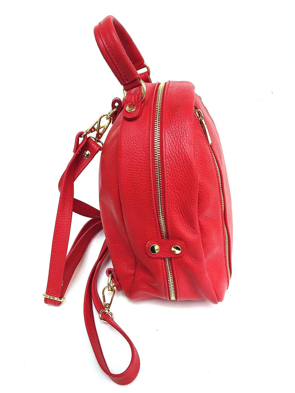 Superflybags handväska modell Ulla superflybags ryggsäck handväska eller axelväska i äkta läder tillverkad i Italien Röd
