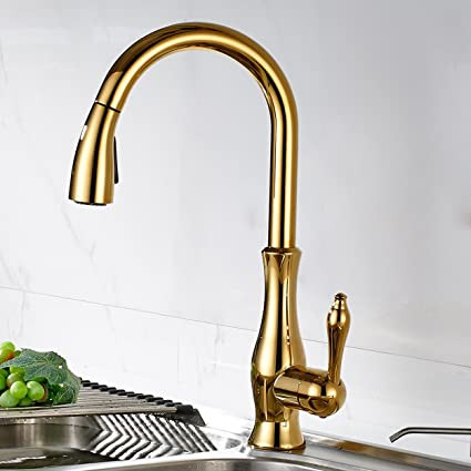 Flg Single Hole Pull Down Kitchen Faucet With Sprayer Gold