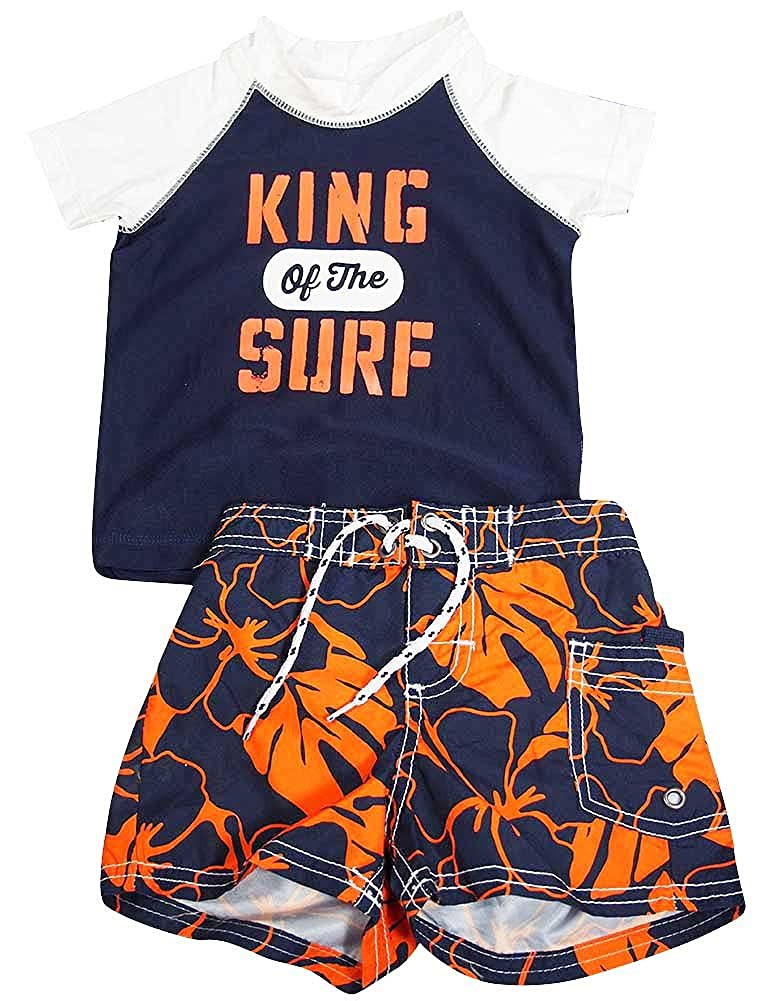 Carter's - Little Boys 2PC Rashguard Swim Set Navy Orange 37340-4T-FBA