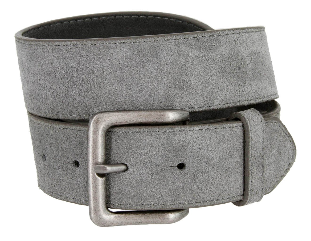 Square Buckle Casual Jean Suede Leather Belt for Men (Gray, 34)