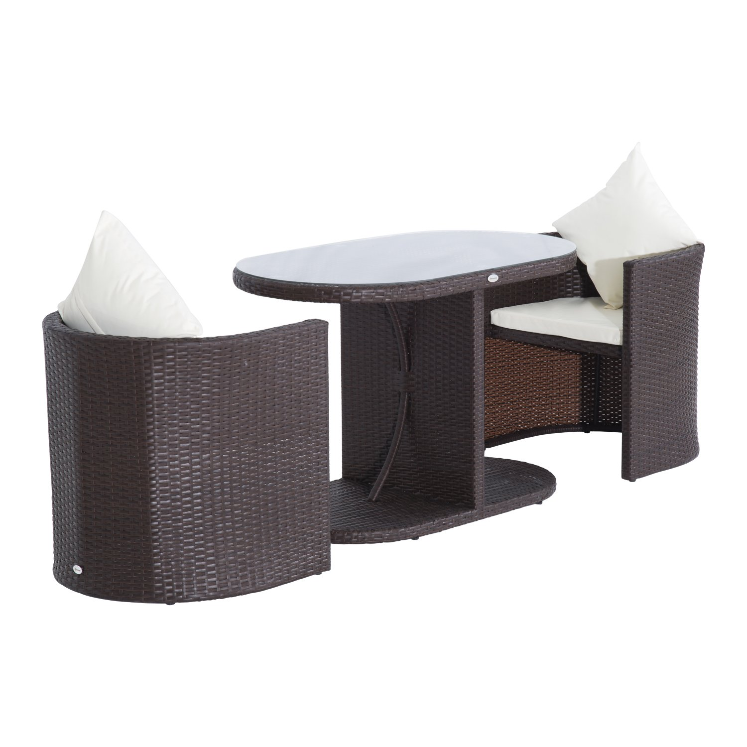 Rattan Table And Chair Set Part - 33: Amazon.com : Outsunny 3pc Table And Chair Rattan Wicker Patio Furniture Set  : Patio, Lawn U0026 Garden