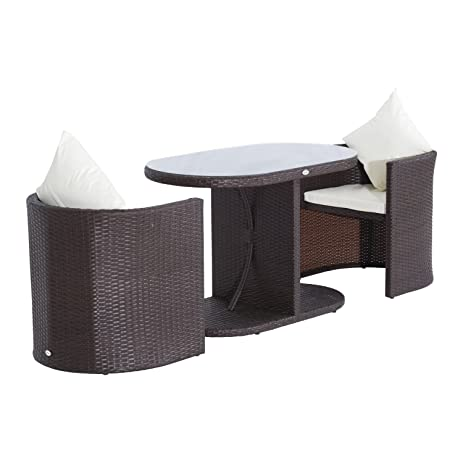 Outsunny 3pc Table And Chair Rattan Wicker Patio Furniture Set