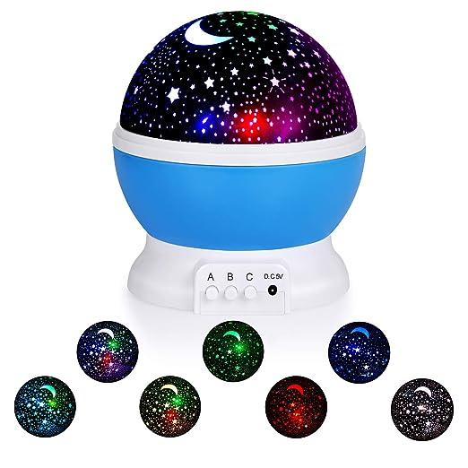 Sunnest - Lámpara de noche para niños, proyector de estrellas, LED ...