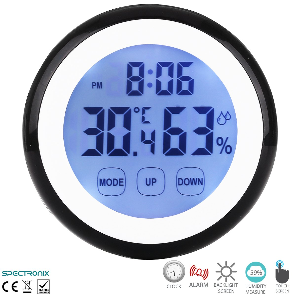 Indoor Outdoor Wall Clock with Temperature And Humidity New Battery Operated