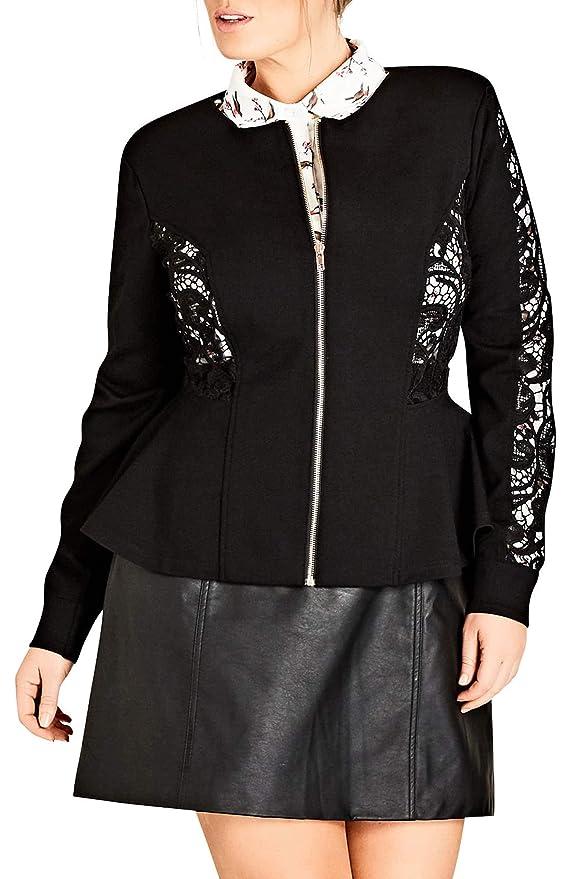 1e04effdffa Amazon.com  City Chic Trendy Plus Size Lace-Inset Peplum Jacket (L 20W)   Clothing