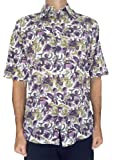 Bent Banani Floral Men's Shirts - Wineglass (Short Sleeve) Purple, White