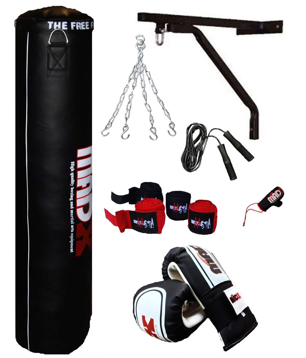 MADX 13 PIECE 4FT HEAVY FILLED PUNCH BAG BOXING SET INC GLOVES BRACKET CHAIN