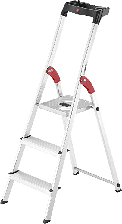 Hailo L60 Escalera taburete Aluminio, Negro, Rojo - Escalera de mano (2,35 m, 150 kg, 3,8 kg): Amazon.es: Bricolaje y herramientas