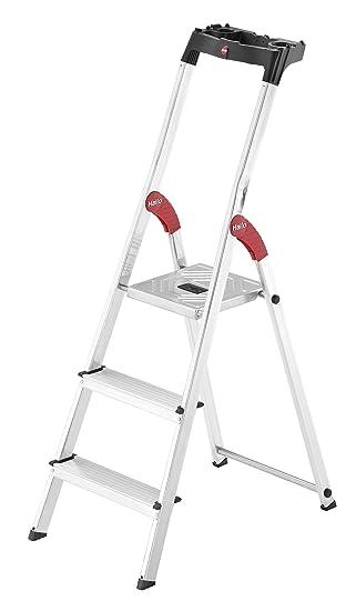 Hailo l60 easyclix - Escalera domestica l60 5 peldaños 168cm aluminio: Amazon.es: Bricolaje y herramientas