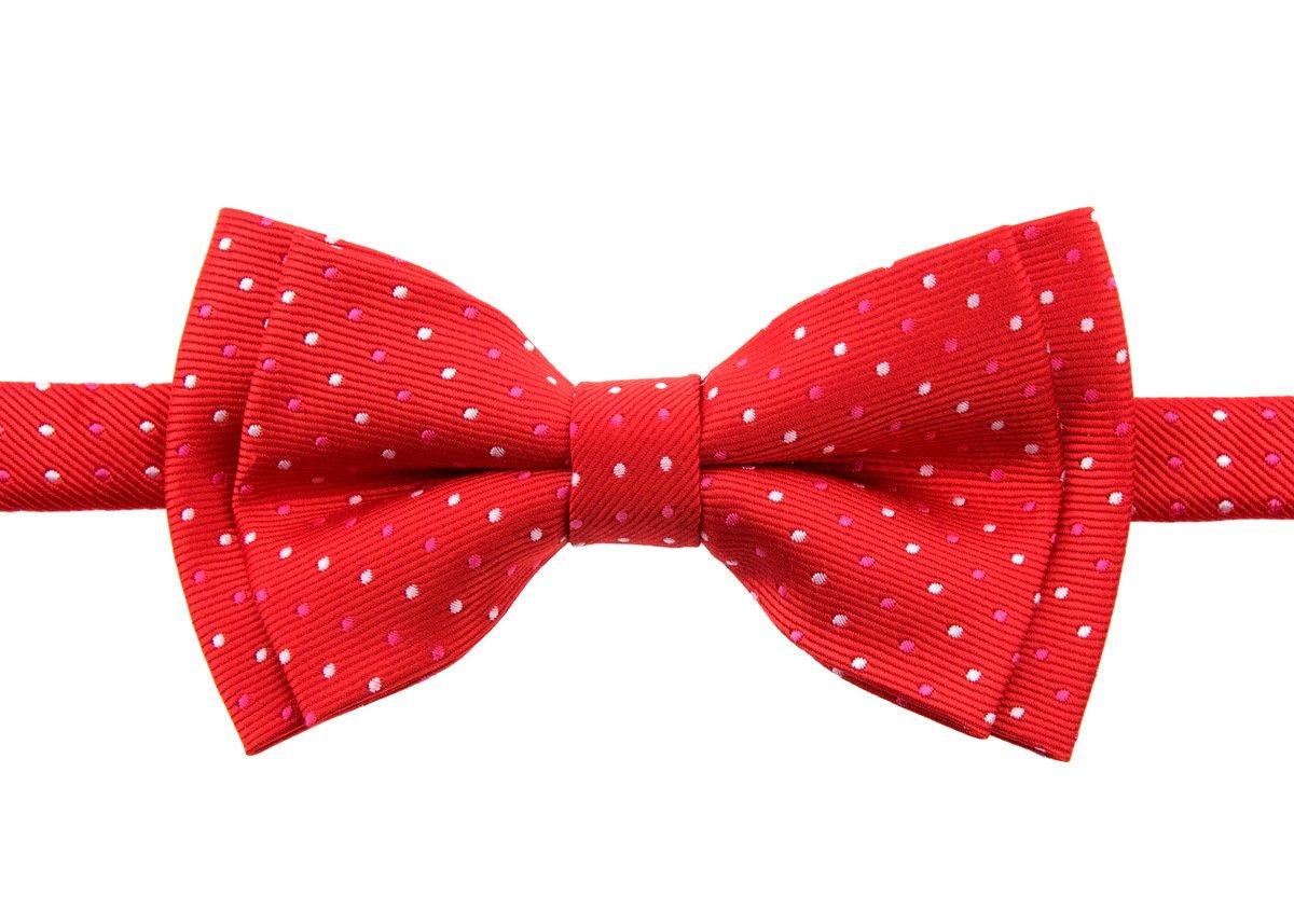 Retreez Dual Color Mini Polka Dots Woven Microfiber Pre-tied Boy's Bow Tie