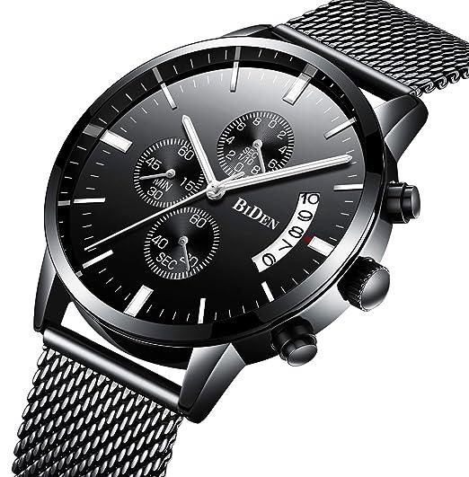 9a3e77a4d46d5 Montres, Montres pour hommes Classique Business Style noir en acier  inoxydable Casual luxe montre-