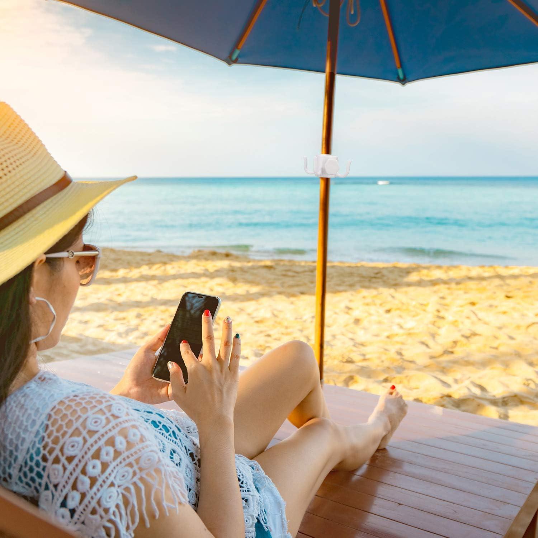 Forniture Viaggio in Spiaggia 4 Pezzi Gancio Ombrellone Spiaggia Gancio Ombrellone in Plastica 4-Poli Appendino Ombrellone da Spiaggia per Asciugamani Cappelli Vestiti Occhiali da Sole Borsa