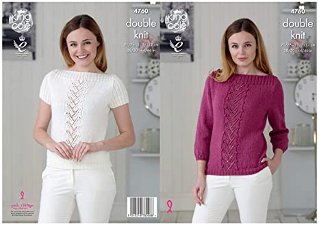 911ade283d61 Image Unavailable. Image not available for. Colour  King Cole 4760 Knitting  Pattern Womens Raglan Sweater and Top in King Cole Glitz DK