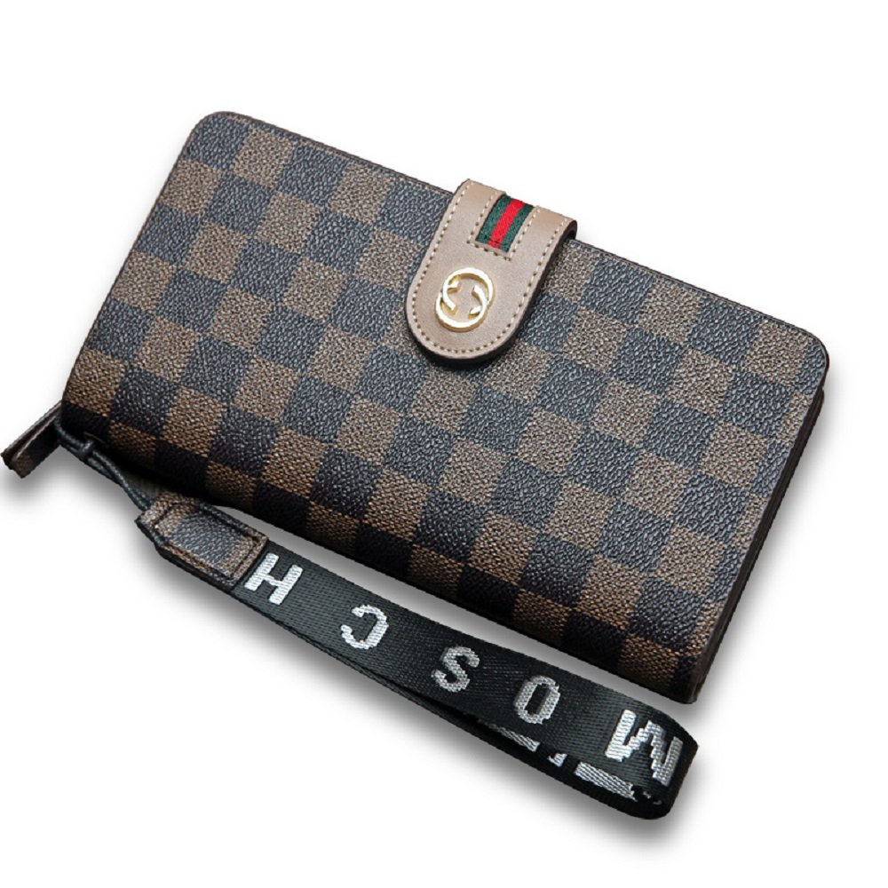 Brown van Persie Women Flower Designer Retro Wallet RFID Purse Handbag Wristlet with Zipper