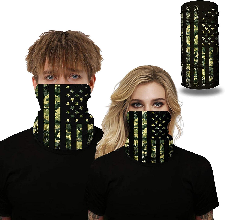 SAMEFAR Unisex Seamless Rave Bandana Neck Gaiter Tube Headwear Bandana Motorcycle Face Bandana for Women Men Face Scarf