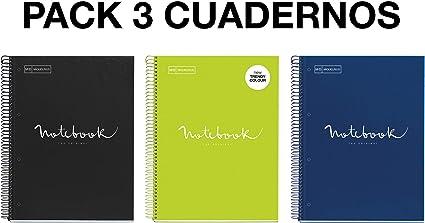Miquelrius - Pack 3 Cuadernos A4 Cuadriculados Emotions - Espiral Microperforado, Cubierta de Cartón Forrado, Tamaño 210 x 297 mm, 4 taladros, 80 Hojas de 90 g, Cuadrícula de 5x5 m, Intensos: Amazon.es: Oficina y papelería