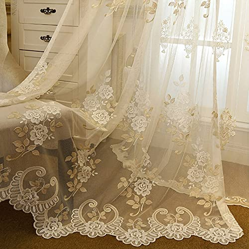 WPKIRA Embroidered Sheer Curtains Rod Pocket Top Window Treatments Panels Tulle Voile Sheer Curtains Transparent Sheer Curtain Drapes