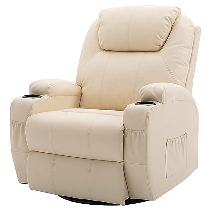 code promo 6152d 024e0 Homcom Fauteuil canapé Sofa Relaxation massant Chauffant et Vibrant  inclinable pivotant à 360° Simili Cuir 92L x 84l x 109Hcm Beige