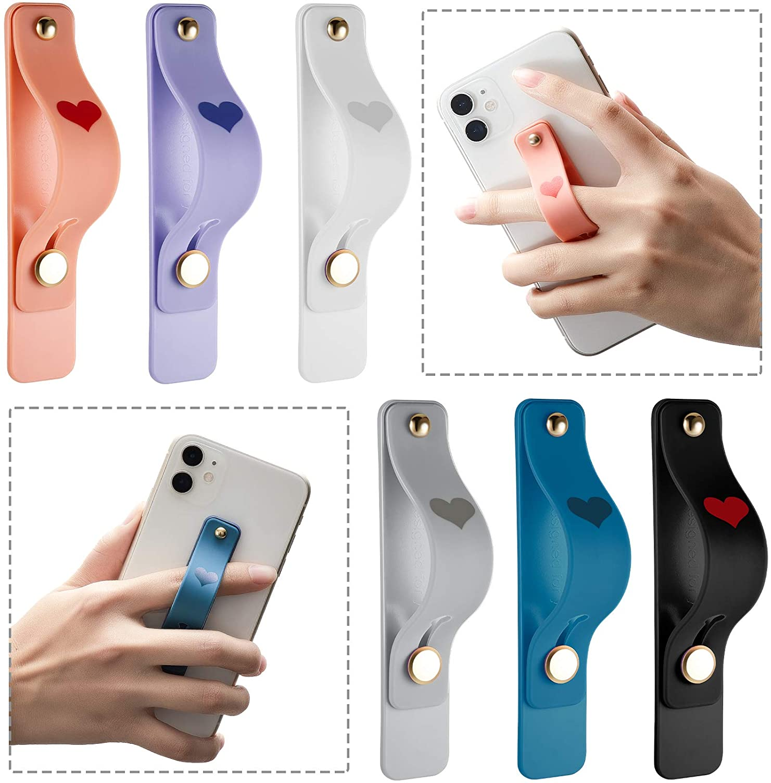 6 Pieces Phone Finger Grip Portable Telescopic Finger Strap Bracket Silicone Mobile Phone Ring Stand Phone Grip Finger Strap for Most Mobile Phones (Orange, Blue, Purple, Black, White, Gray)