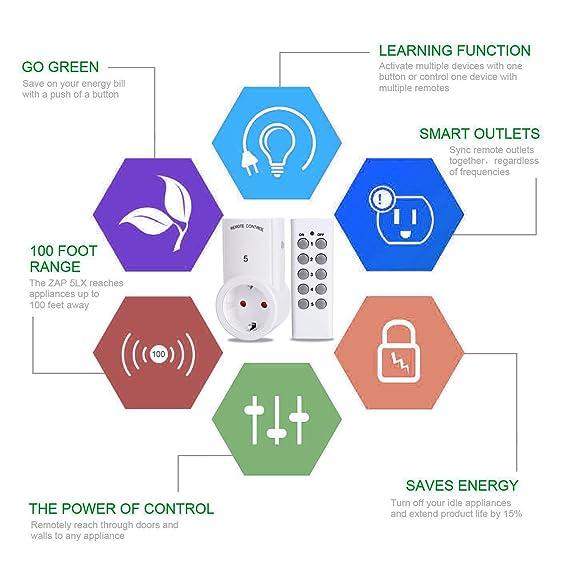 Edited alta calidad Smart Interruptor de luz profesional inteligente función enchufe Aprendizaje WiFi de mando a distancia Interruptor de 5 unidades Juego ...