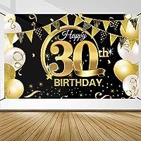 Decoración de Fiesta de 30 Cumpleaños, Extra Grande Póster de Cartel Dorado Negro Materiales de Fiesta de 30 Cumpleaños…