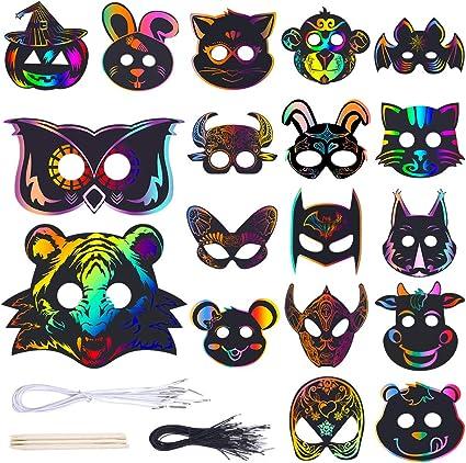 6 Pack Fun Halloween Scratch Art MASKS Kids Craft Spider Pumpkin Bat Witch Cat