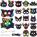 42 Set Magic Scratch Art Rainbow Scratch Paper Animal Masks with 18 Different Types Face Masks Elastic Cords Scratching…