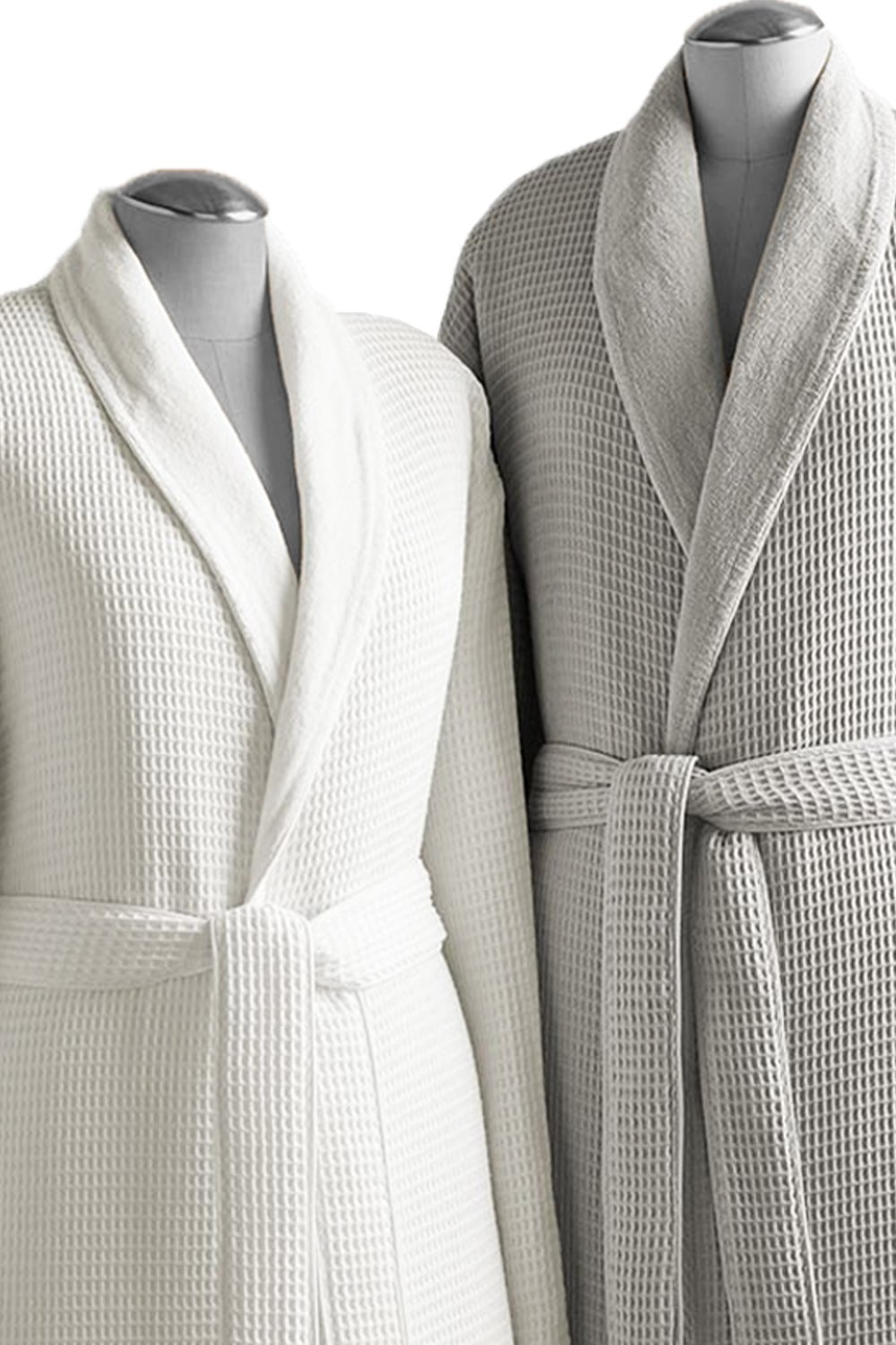 Kassatex Waffle Terry Bathrobe Collection, 100% Cotton, Made in Turkey (Waffle Outside, Thick Terry Inside - S/M - White