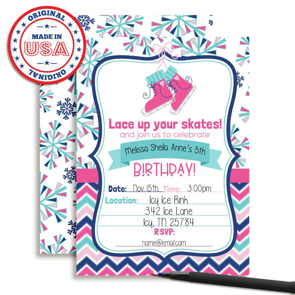 Amazon Winter Ice Skating Birthday Party Invitations For Girls 20 5x7 Fill In Cards With Twenty White Envelopes By AmandaCreation Toys Games