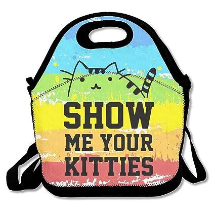 cde961ba88e2 Amazon.com - Show Me Your Kitties Cat Cute Lunch Bag Lunch Tote -