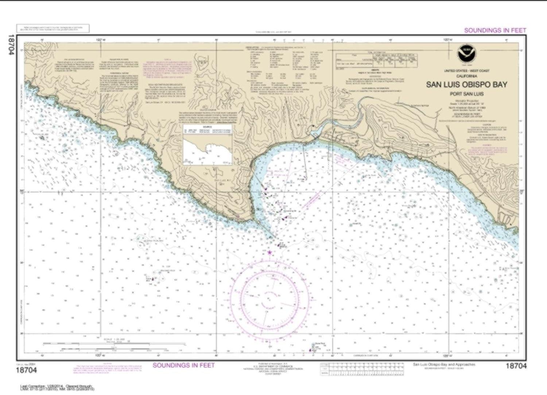 NOAA Chart 18704-San Luis Obispo Bay by East View Geospatial Port San Luis Water-Resistant
