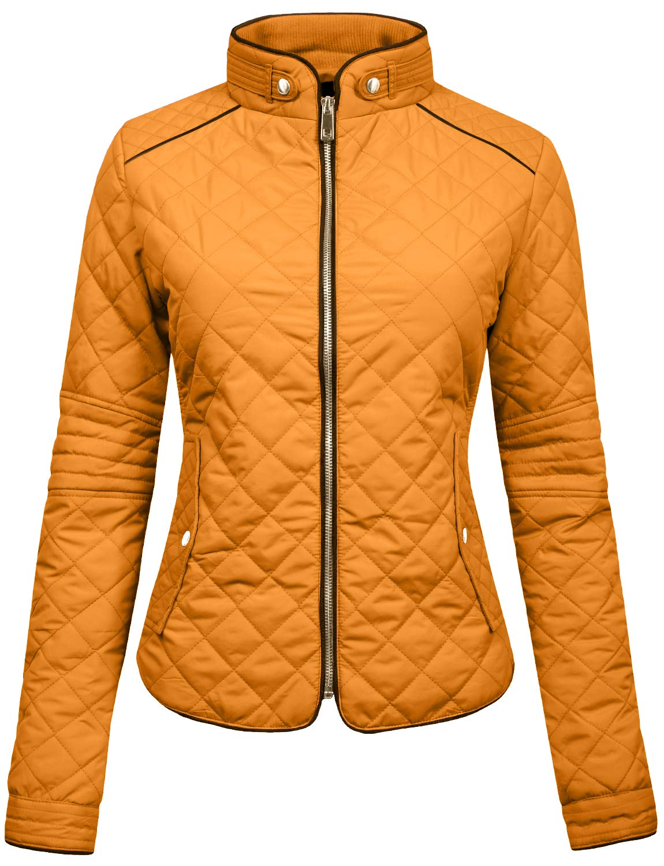 NE PEOPLE Womens Lightweight Quilted Zip Jacket-Mustard-L