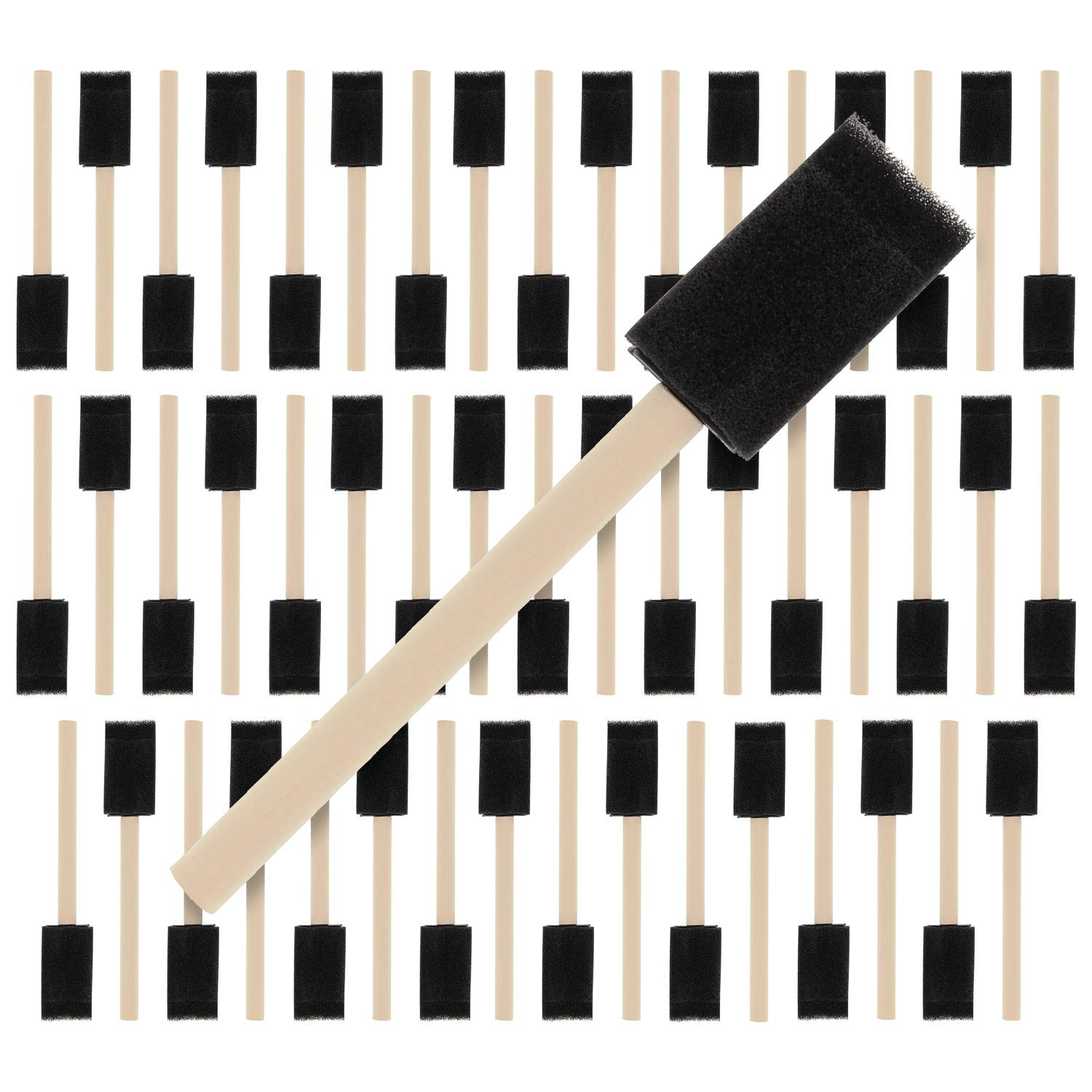 US Art Supply 1 inch Foam Sponge Wood Handle Paint Brush Set (Super Value Pack of 50) - Lightweight, Durable and Great for Acrylics, Stains, Varnishes, Crafts, Art by US Art Supply