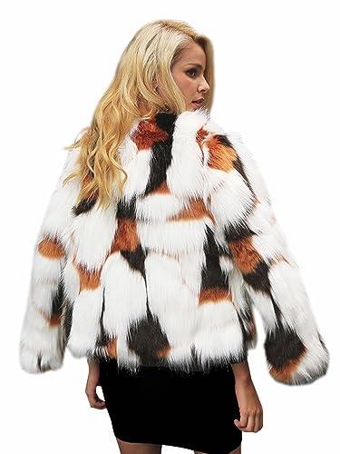 Simplee Apparel Women 's Winter Long Sleeve warm Luxury faux Fox Fur Coat Jacket Outwear