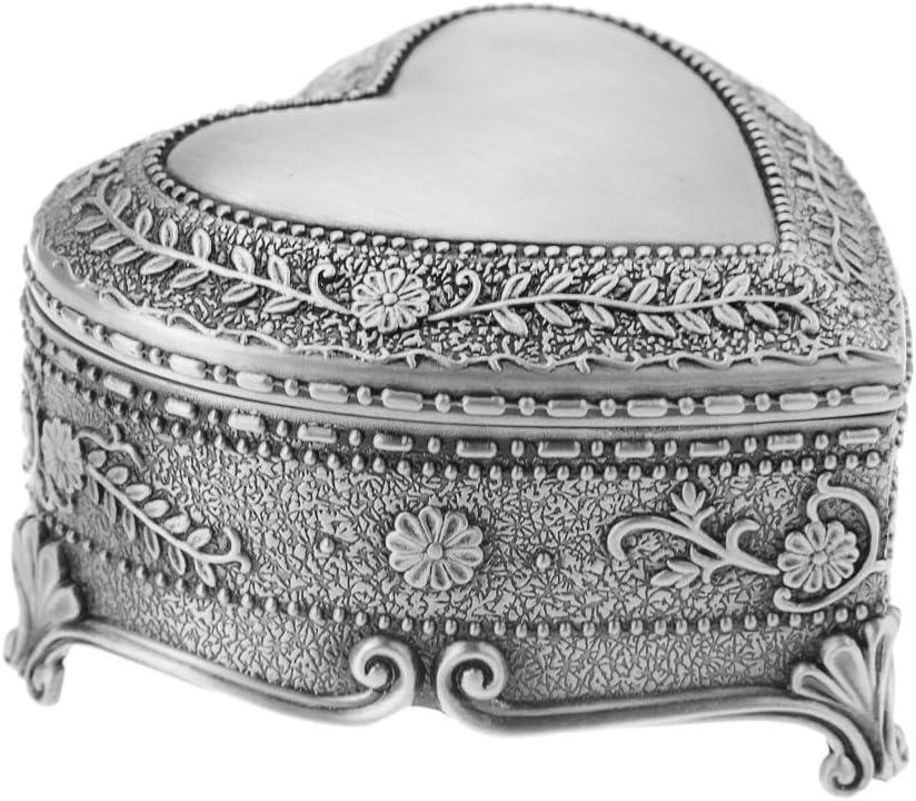 FakeFace Vintage Antique Silver Chest Box Heart Shape Tin Jewelry Box Classic Retro Storage Organizer (Heart Silver)