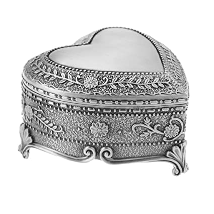 Amazoncom Vintage Antique Silver Chest Box Heart Shape Tin
