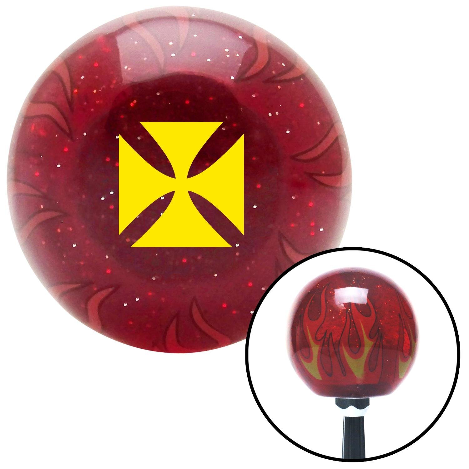 Yellow Cross Maltese Red Flame Metal Flake with M16 x 1.5 Insert American Shifter 296580 Shift Knob