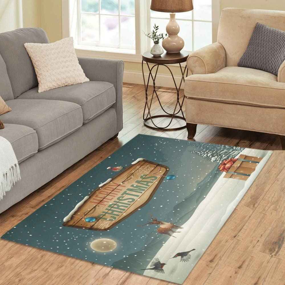 Fashion Custom Home Decorator Winter Holidays Landscape With Wooden Sign Area Rug Floor Rug Carpets