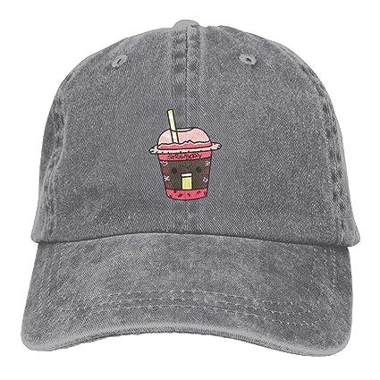 1f6debf8c72 Strawberry Bubble Tea Women Men Fashion New Cowboys Hip Hop Adjustable Hat  For Gift