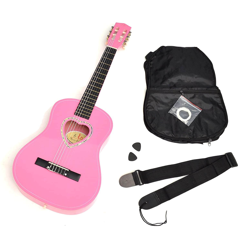 ts-ideen 5260 Kindergitarre 1/2 Akustik Klassik Gitarre in Rosa mit Herz-Schalloch und mit Zubehö r: Tasche, Plektren, Saiten und Gurt