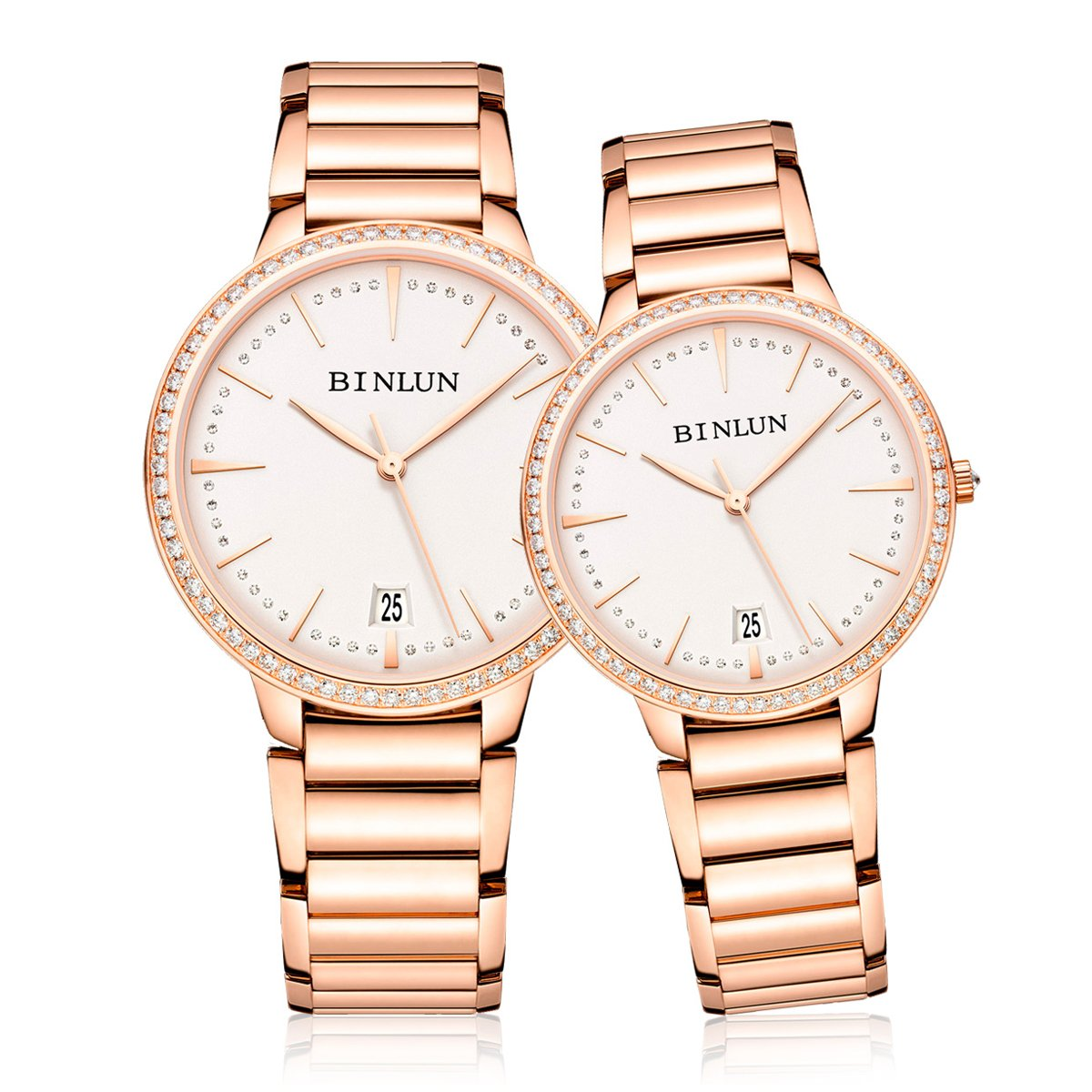 BINLUN Pair His and Hers Couple Watches Men Women 2pcs/set Ultra Thin Automatic Watches 18k Rose Gold